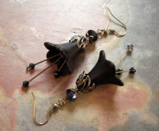 Pretty Black Lucite Flower Crystal Antiqued Brass Earrings