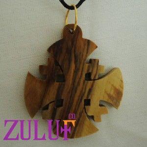 Jerusalem Crusaders Cross Charm Necklace Pendant Olive Wood Israel