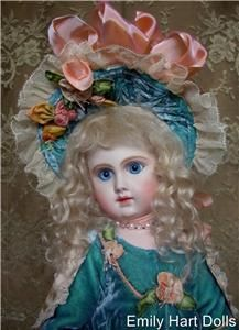 Phenix BEBE Antique Reproduction Bisque Doll by Emily Hart Dress Mary
