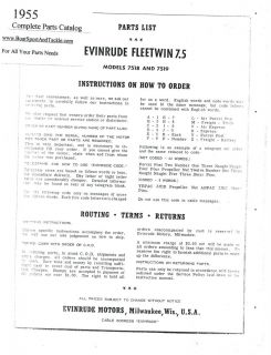 Parts List Manual for 1955 7 5 HP Evinrude Fleetwin Models 7518 and