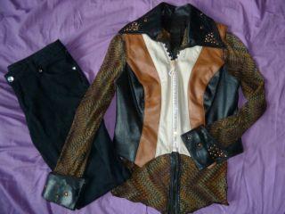 Xsmall Western Show Outfit Set Black Pants Rail Shirt Hobby Horse Vest