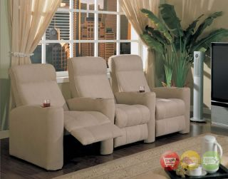 Home Theater Seating Tan Microfiber 3 Seats Chairs New