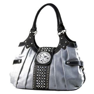 Fl de Lis Buckle Rhinestone Studs Hobo Handbag Purse Gray