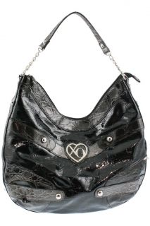 XOXO Black Embossed Crocodile Print Hobo Handbag Large BHFO