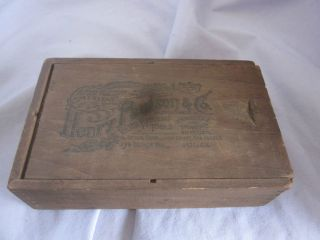ANTIQUE WOOD BOX HENRY PAULSON & CO WATCH MATERIALS TOOL CHICAGO 3