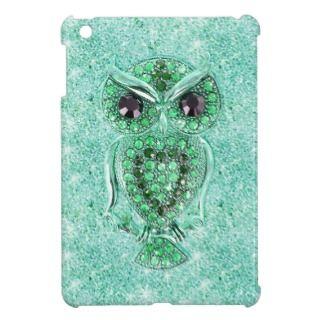 Cute Owl, glitter teal heart diamond photo print iPad Mini Case