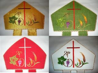 New Vestment Miter Gold Green Red White Grapes Wheat