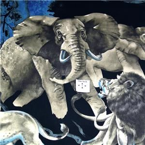 Alexander Henry Cotton Fabric Thrilling Lions, Elephants on Black, OOP