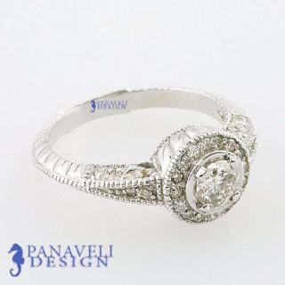 90 Ct Vintage Style Diamond Engagement Ring 18K White Gold