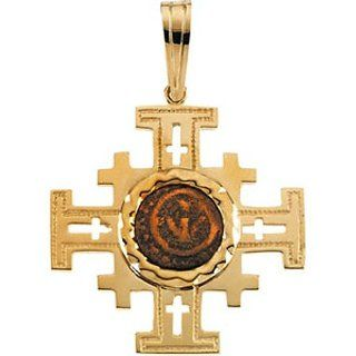 14K Yellow Gold Cross Pendant with Widows Mite Coin   31