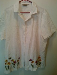 Jane Ashley 3x 4x white cotton floral embroidered shirt blouse top