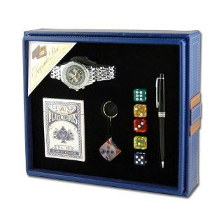 Mens Watch, Key Chain, Dice, Pen and Playing Cards Gift Set: Watches