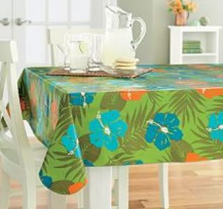 Tropical Hibiscus Vinyl Tablecloth Green Floral Design Flannel Backed