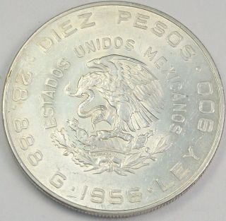 1956 Hidalgo Diez (10) Pesos   Lustrous Large 90% Silver Coin