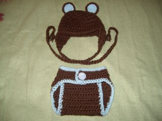 Baby Boy Crochet Bear Hat and Diaper Cover Set Photo ♥