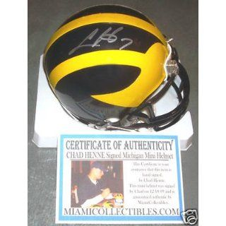 CHAD HENNE Signed MICHIGAN Mini Helmet Dolphins SIGNING