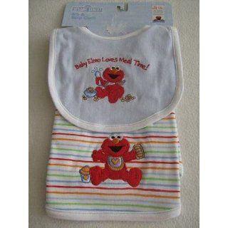 Bib & Burp Cloth   Sesame Street Baby Elmo Appliqued and
