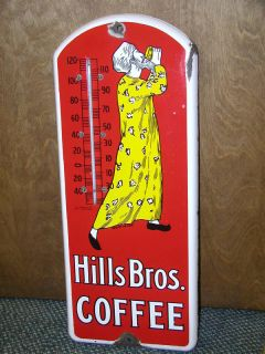 VINTAGE ADVERTISING HILLS BROTHERS COFFEE PORCELAIN AD THERMOMETER 523