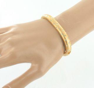 60s Swarovski Crystals in Brushed Gold Hinged Bangle Bracelet