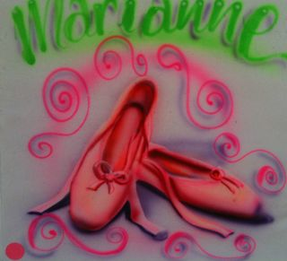 Airbrush Ballet Shoes Slippers Tap Jazz Hip Hop T Shirt Airbrushed