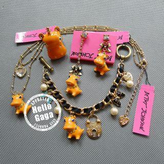Set Crystal Hippos Betsey Johnson Necklace Earrings Bracelet Ring