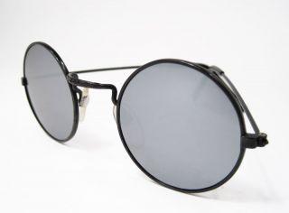 Round John Glasses Hippie Sunglasses 60s Mirrored Black