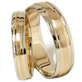 Lovely Matching His Hers High Polish Two Tone Wedding Bands 14k Gold