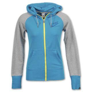 Nike AW77 Team Full Zip Womens Hoodie Neon Turq