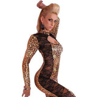 Amour  Sexy Leopard Print Black Lace Catsuit Bodysuit