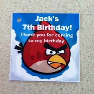 12 Angry Bird Birthday Party Favor Tags Reads Jacks 7th Birthday