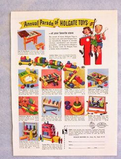 Vintage 1954 Holgate Wooden Preschool Toy Ad 8x11 Activity Train Cola