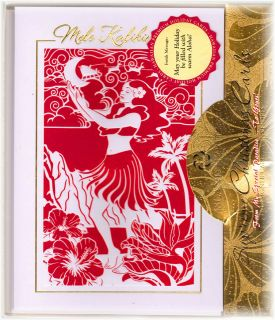Hawaii Hawaiian Cut Out Christmas Xmas Cards Hula Hibiscus Mele