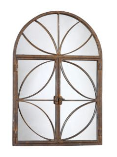 Beautiful Rusty Metal Arched Window Look Mirror w Doors CLEARANCE