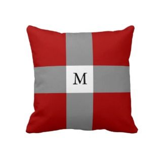 Red grey white cross monogram throw pillow
