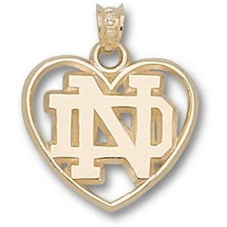 Notre Dame Fighting Irish ND Heart Pendant   10KT Gold
