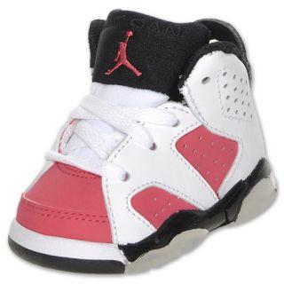Air Jordan Retro 6 Toddler Shoe White/Coral Rose