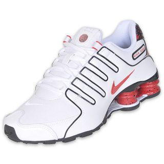 Boys Gradeschool Nike Shox NZ White/Black/Hot Red