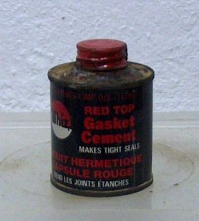 Rare Vintage WHIZ RED TOP car auto gasket cement oil tin can RM