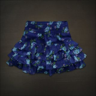 Hollister Abercrombie Women Blue Pink Floral Tiered Ruffle Mini Skirt