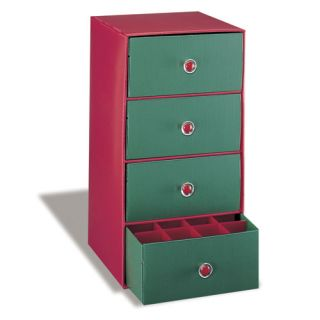 Christmas Holiday Red Green 4 Drawer Storage Comtainer Unit