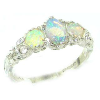 Ladies Solid Sterling Silver Natural Fiery Opal English Victorian