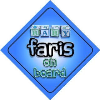 Baby Boy Faris on board novelty car sign gift / present