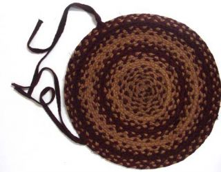 IHF Braided Jute Round Chair Pads Covers for Sale Vintage Star Set 4