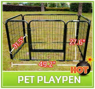 Dog Cat Exercise Pen Playpen Fence Yard Kennel Portable 27 6
