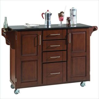 Home Styles Furniture Granite Kitchen Cart in Cherry [142163]