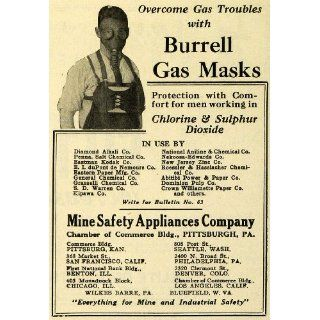 1922 Ad Mine Safety Burrell Gas Mask Vintage Sulphur