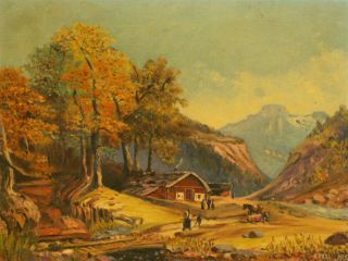 Homestead Valley Landscape Signed Oil Painting 1950s