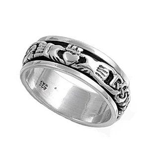 Sterling Silver Spinner Ring   Claddagh   8mm Band Width   Sizes: 4 9