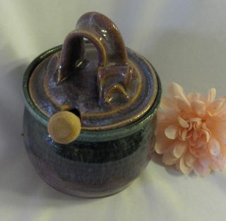 HONEY POT CROCK WITH WOOD DIP STICK PURPLE BLUE GREEN AND BROWN HUES