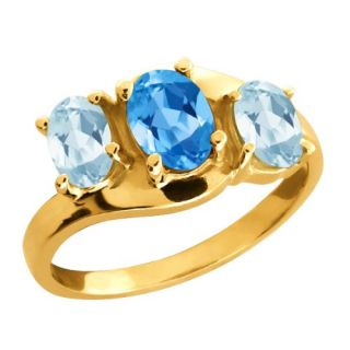 66 Ct Oval Swiss Blue Topaz and Aquamarine Gold Plated Silver Ring